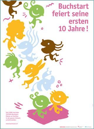 """Poster """"10 anni Nati per leggere"""" in tedesco"""