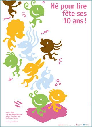 """Poster """"10 anni Nati per leggere"""" in francese"""