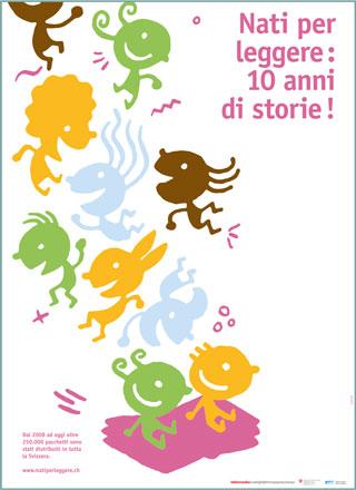 """Poster """"10 anni Nati per leggere"""" in italiano"""